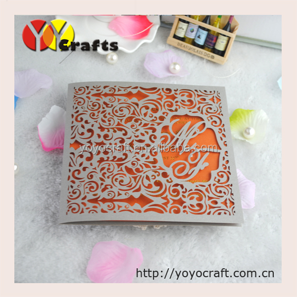 Pocket style Wedding invitation cards, Laser cut invitation cards from YOYO <strong>crafts</strong> various colors and designs