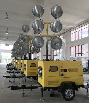 13KW Hydraulic Mast Road Construction Light Tower Generator