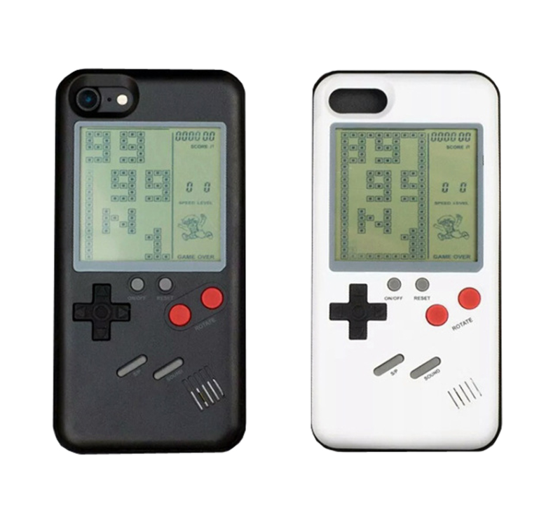 Free Shipping Nostalgia Tetris Game Consoles Mini Handheld Game Players 8 Games Phone Case For <strong>X</strong> 6s 7 8 Plus Mobile Phone