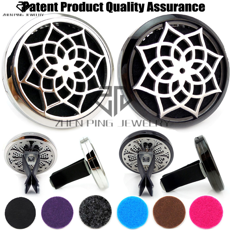Hot Sale Silver 7 Chakra Beads Yoga (38mm) 316 Stainless Steel Car Diffuser Aroma Car Locket Free Pads Essential Oil diffuser