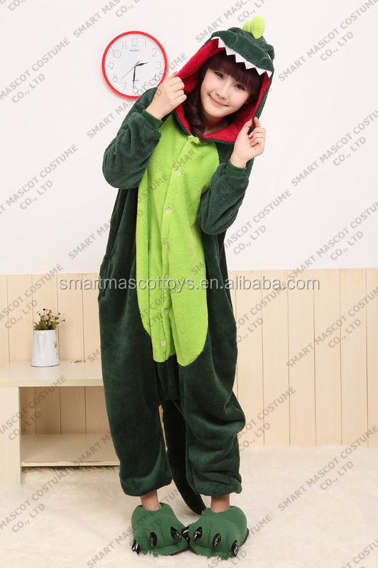Wholesale animal green dragon onesie adult green dragon onesie pajamas