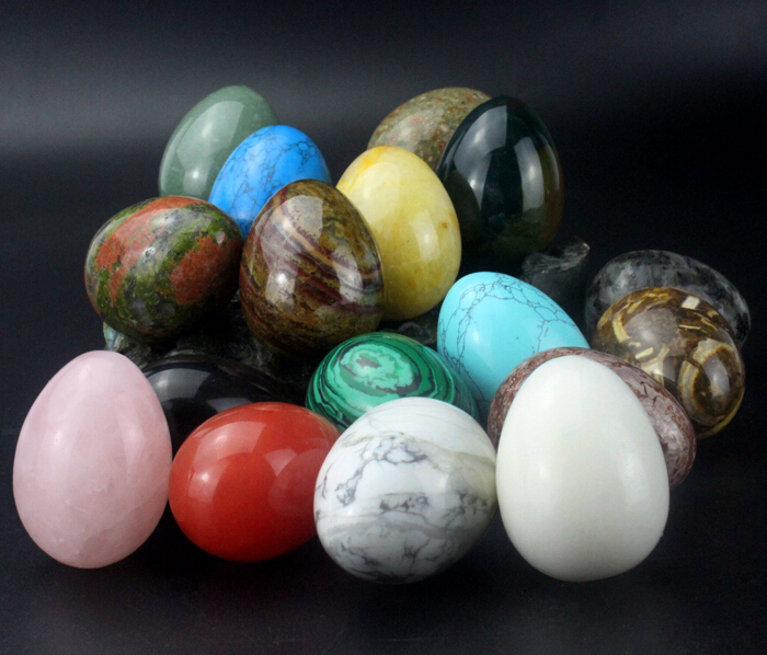 Wholesale mixed natural carved semi-precious stone eggs for sale
