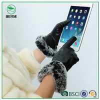 Ladies rabbit fur Leather Gloves sex women dress winter custom leather glove