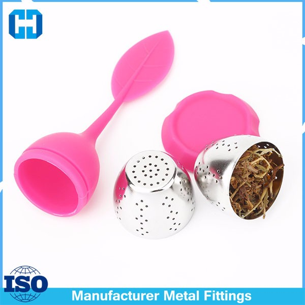 Tea Infuser Filter Leaf Strainer Handle With Steel Ball Silicone Leaf Lid