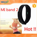 2017 Hot Sale !! global version mi band 2 black fast shipping heart rate powerful causal sport wrist mi band 2