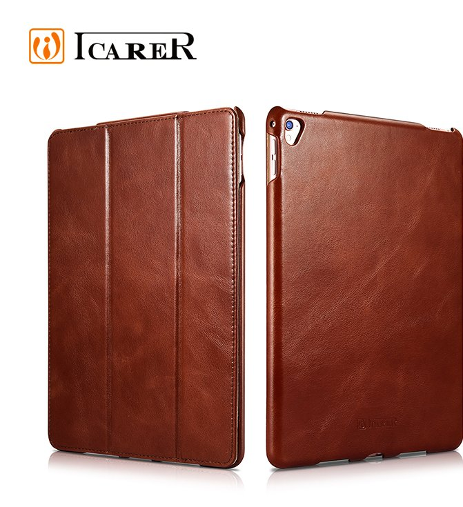 ICARER Cowhide Genuine Leather Tablet Case for iPad pro 9.7 12.9 Inch Flip Cover
