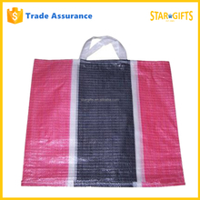 Custom Red White And Black Striped Pp Woven Shopping Tote Bag