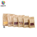 High Quality Box Bottom Brown Kraft Paper Ziplock Food Packaging Bags with Clear Window for Dried Fruit