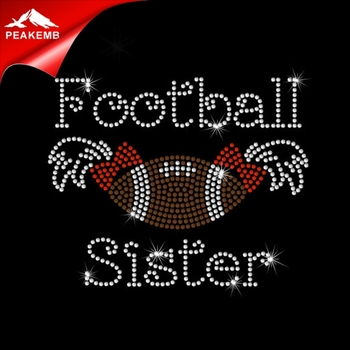 Various Designs Rhinestone Football Sister Hot-Fix Transfer Motif