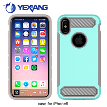 Top Quality Shockproof Protective Carbon Fiber Armor Case For Iphone 8 Hybrid 2 In 1 Cover