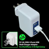 tablet 4 Ports EU/US/UK/AU Plug Home Travel AC Power Dual USB Wall Charger For iPhone5S iPad 2/3 Mini Samsung Galaxy S5 S4