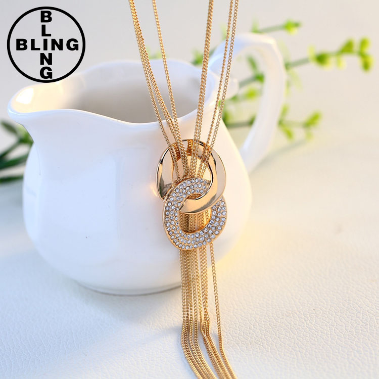 2017 hot wholesale korean long tassel alloy lady necklace rhinestone gold plated women sweater chain