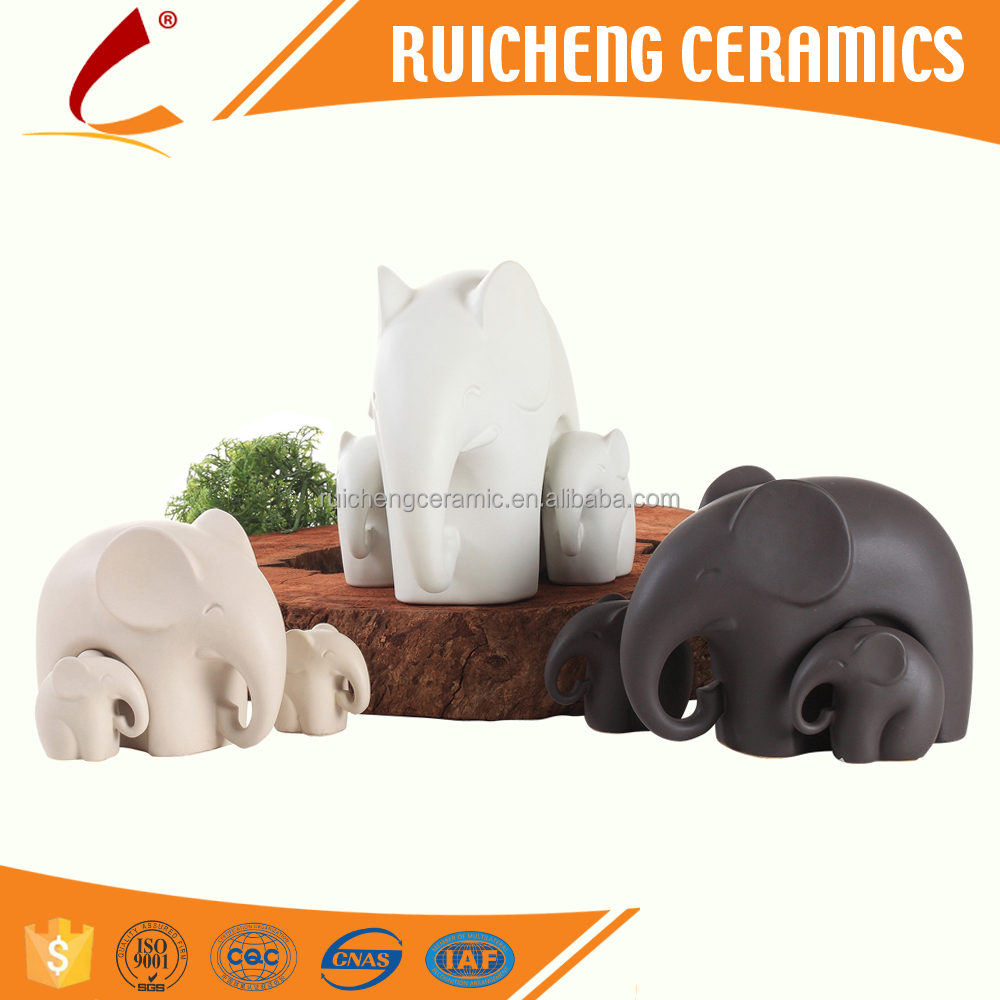 Modern Matt color Elephant ceramic decoration for Home design