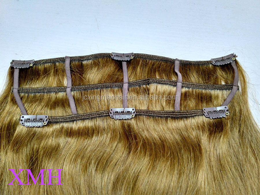 Wholesale top quality 100% remy clip hair extensions all colors