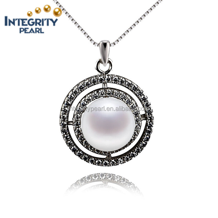 Traditional new 925 sterling silver genuine freshwater pearl pendant necklace AAA natural 9mm button white real pearl jewelry