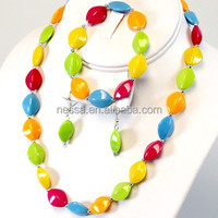 Fashion acrylic bead necklace wholesale jewelry set NSNK-28775