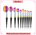 2017 Trending product own brand foundation brush 10pcs oval toothbrush makeup brush set
