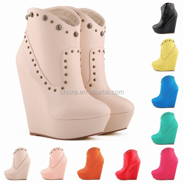 C88759A Latest Fashion lady sexy wedge shoes winter wedge boots