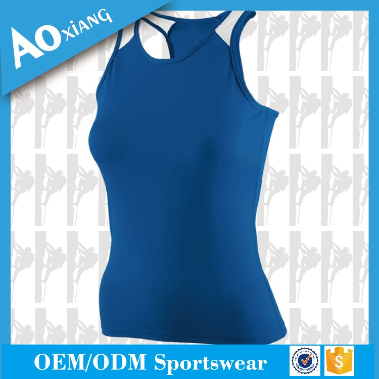 Wholesale custom 100% polyester dry fit blue plain gym tank top for women