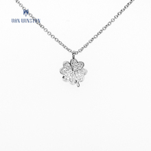 Diamond women jewelry lucky four leaf clover pendant thin chain necklace
