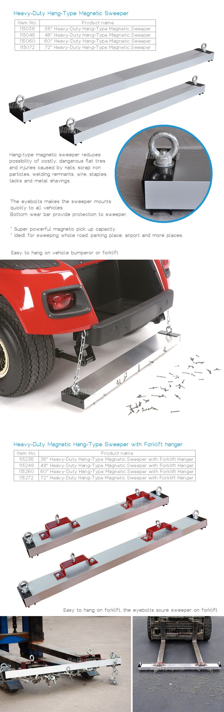 "Super Power 72"" Hanging Road Magnetic Forklift Sweeper With Quick Release"