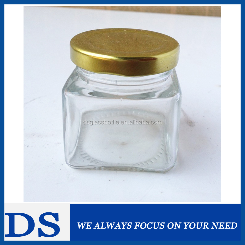 200 ml Cheap Glass Honey Jars Wholesale with golden color tinplate cap