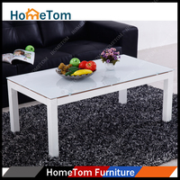 2016 Hometom 6mm Painting Tempered Glass Powder Coated Metal Frame Tea Table