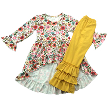 fall new arrival giggle moon remake floral tunic dress ruffle pants baby girl outfits clothing for children