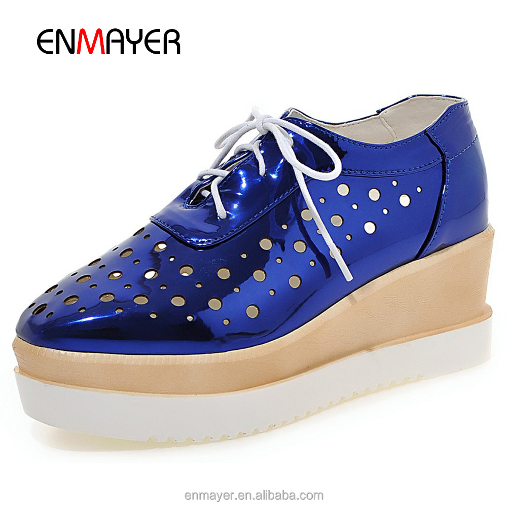 Korean brand name top quality metallic PU shoeslace tied flat <strong>shoes</strong> women
