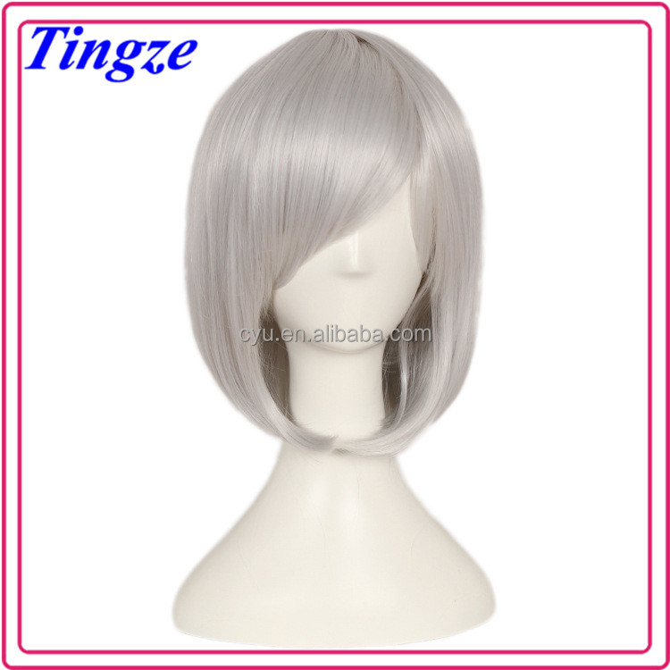 New arrival air bang short curly hair, gray short human hair wigs.