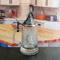 decal cheap glass beer mugs with handles glassware manufacturer