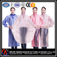 Clear PVC rain coat long for ladies,rain poncho with dot printing