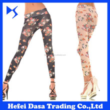 chpeap wholesale rose flowers printed new model ladies sexy tight legging for women
