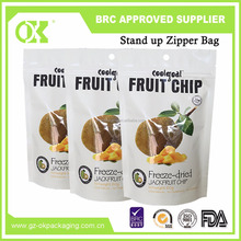 Hot selling standup chips packaging round bottom plastic snack zip lock bag