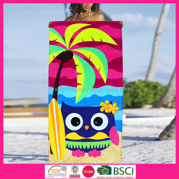 100% cotton vivid owl custom print towel on beach
