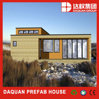 Flat roof prefab steel frame with wooden cladding system prefab house