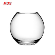 Fancy flat round wholesale clear glass vase fish bowl for home