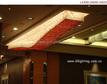 Fancy long hotel multi color crystal chandelier