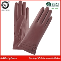 Helilai Gloves Factory Light Brown Ladies Leather Gloves With Buttons