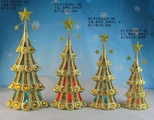 Home ornament christmas decoration gift 2017 cheap ceramic indoor small Xmas green trees