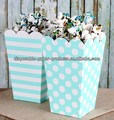Aqua Popcorn Boxes in Dots and Stripes, Popcorn Favor Boxes (set of 6 - 3 each style) Ships Flat