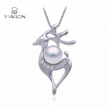 2019 Fashion Custom 925 Sterling Silver Christmas Party Gift Jewelry Reindeer Pearl <strong>Pendant</strong> Mounting