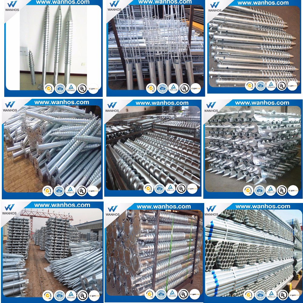 Galvanized Steel Screw in Ground Solar Racking Structure, solar ground mount screws