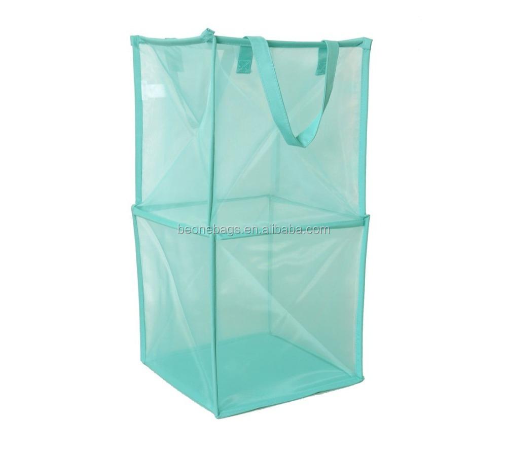 Large Capacity Foldable Mesh Laundry Basket Hemper With Steel Frame Buy Laundry Basket Mesh