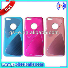 Hot! wire drawing metal hard back cover case for iphone 5c,nice two triangular pattern