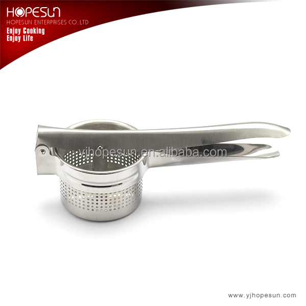 Stainless steel potato masher or potato press with mirror polished