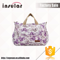 Multi-functional Pink Blue Black Colorful Printed Flower Baby Nappy Bags For Girls