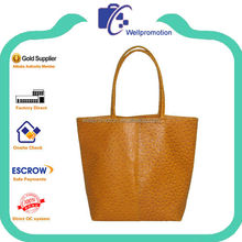 Yellow fake ostrich promotional ladies leather tote bag