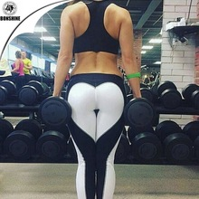 Women's new love pattern black and white spell stitching breathable yoga sports leggings pants