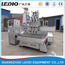 guangzhou ledio multi fuctions Wood CNC Router/three heads auto tool change wood funiture 4 axis cnc router processing machine